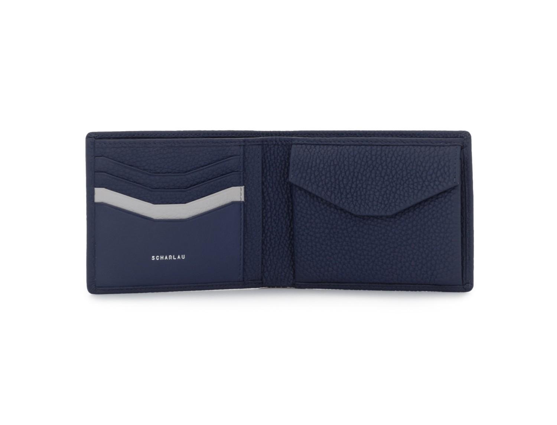 Portafoglio orizzontale con portamonete in pelle blu open