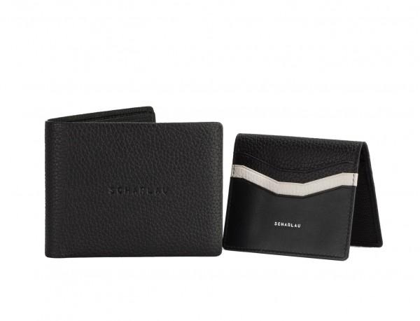 leather wallet men in black open