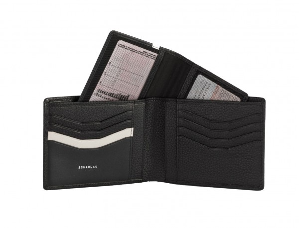 leather wallet men in black detail