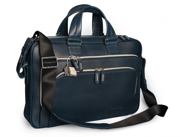 leather blue briefbag for men and women side