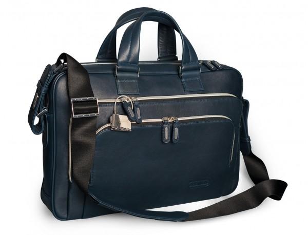 maletin de cuero unisex en color azul lateral