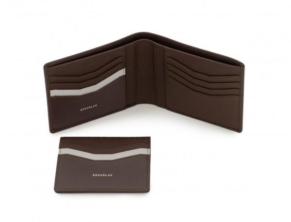 cartera de hombre con tarjetero marrón detalle