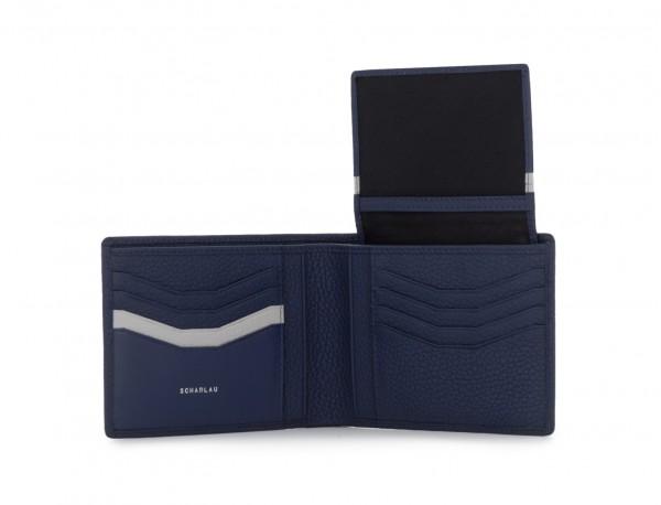 cartera de hombre con tarjetero azul abierto