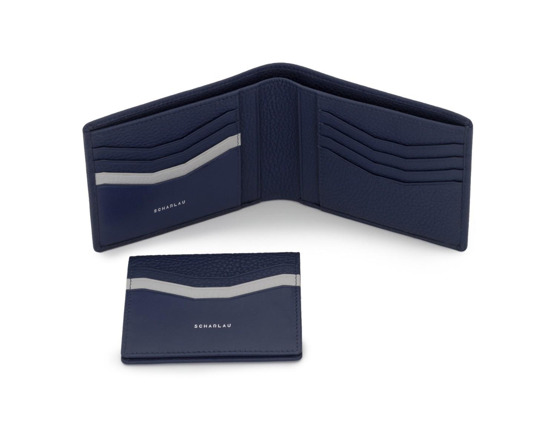 cartera de hombre con tarjetero azul inside