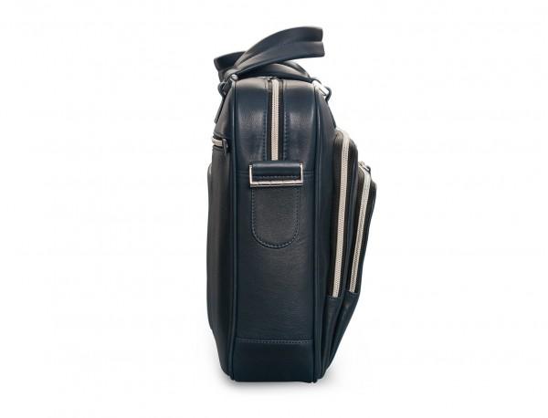 maletin de cuero unisex en color azul lado