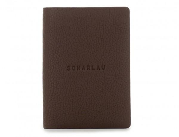 billetero de cuero para tarjetas marrón frontal