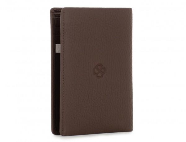 billetero de cuero para tarjetas marrón back