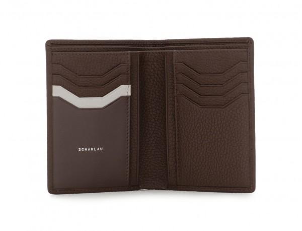 portafoglio in pelle porta carte marrone detail