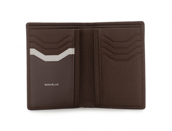 leather wallet for credit cards brown open