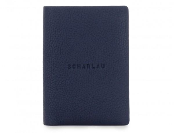 billetero de cuero para tarjetas azul frontal