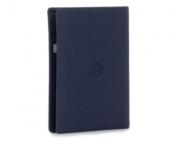 billetero de cuero para tarjetas azul back