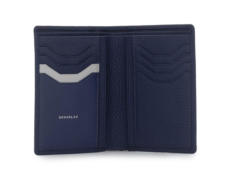 billetero de cuero para tarjetas azul abierto