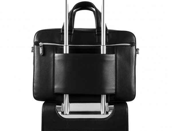 leather blue briefbag for men and women trolley