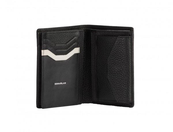 Portafoglio verticale con portamonete in pelle black open
