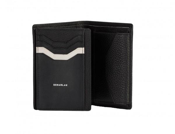 Portafoglio verticale con portamonete in pelle black inside