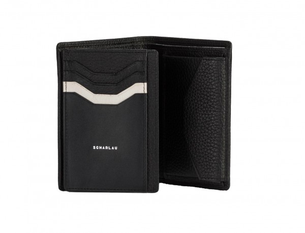 leather wallet with coin pocket black inside