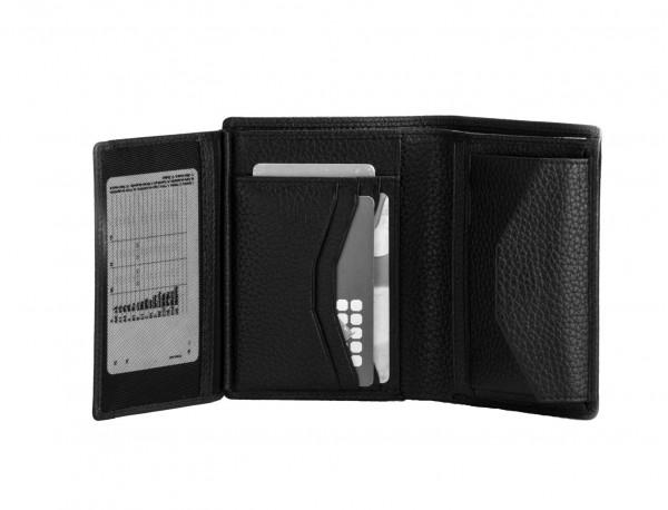 Portafoglio verticale con portamonete in pelle black detail
