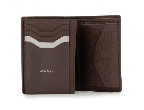 Portafoglio verticale con portamonete in pelle marrone logo