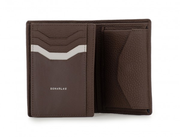 leather wallet with coin pocket brown open