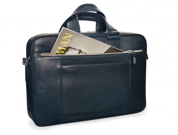 leather blue briefbag for men and women back