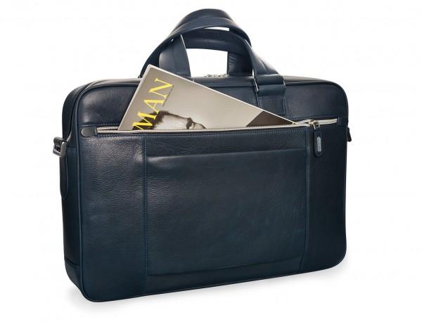 maletin de cuero unisex en color azul detrás lado