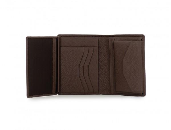 Portafoglio verticale con portamonete in pelle marrone inside