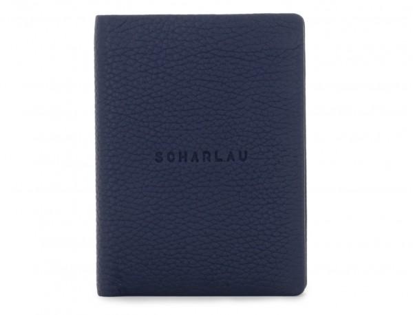 Portafoglio verticale con portamonete in pelle blu front