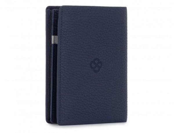 Portafoglio verticale con portamonete in pelle blu back