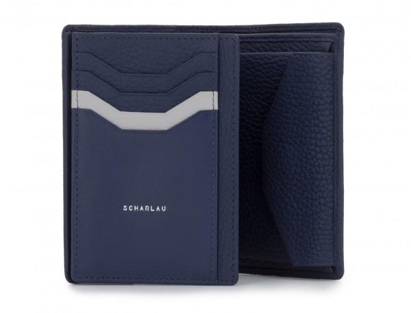 Portafoglio verticale con portamonete in pelle blu open