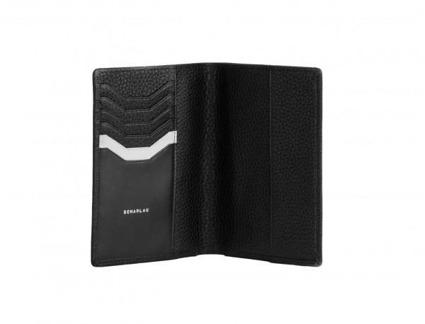 Porta passaporto in pelle black open