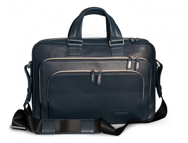 borsa da lavoro in pelle blu per uomo e donna front with shoulder strap
