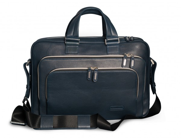 leather blue briefbag for men and women front with shoulder strap