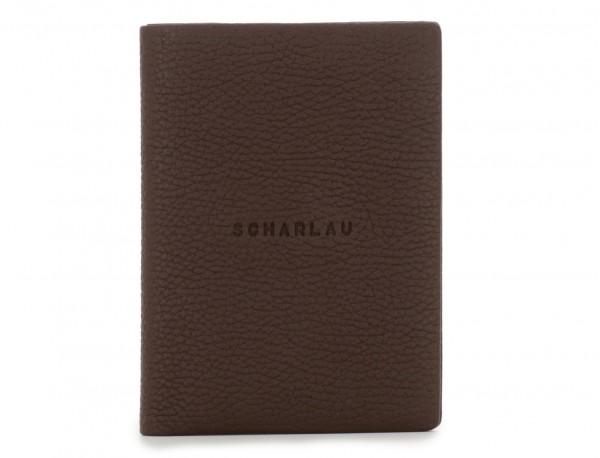 funda de piel para pasaporte marrón frontal
