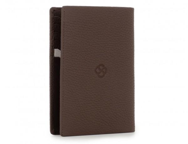 funda de piel para pasaporte marrón back