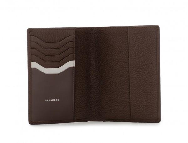 funda de piel para pasaporte marrón open