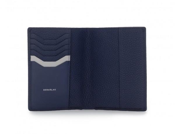 funda de piel para pasaporte azul abierto