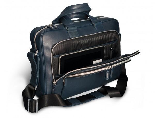maletin de cuero unisex en color azul abierto