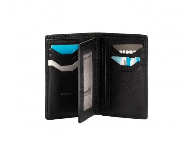 cartera de piel para tarjetas negro open