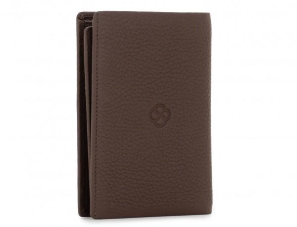 cartera de piel para tarjetas marrón back