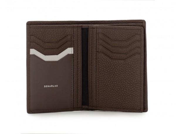 cartera de piel para tarjetas marrón abierto