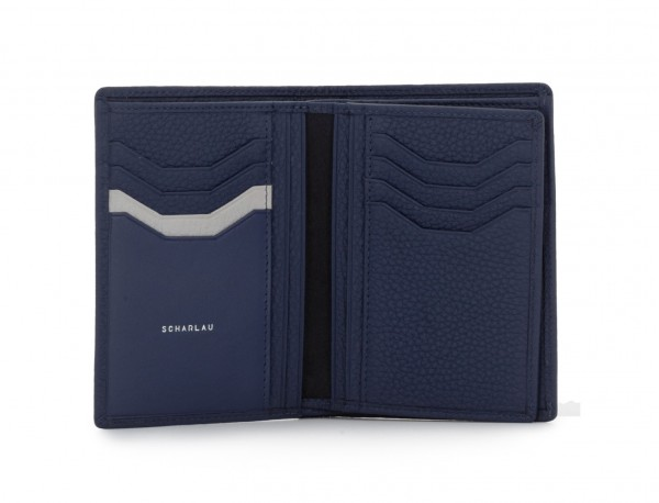 leather wallet for credit cards blue open