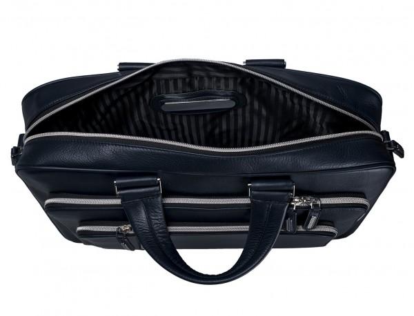 maletin de cuero unisex en color azul placa personalizada