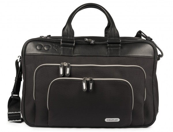 nylon and leather travel bag cabin size front