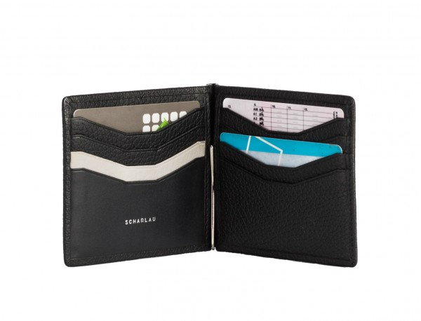 leather wallet with Money clip black credit cards