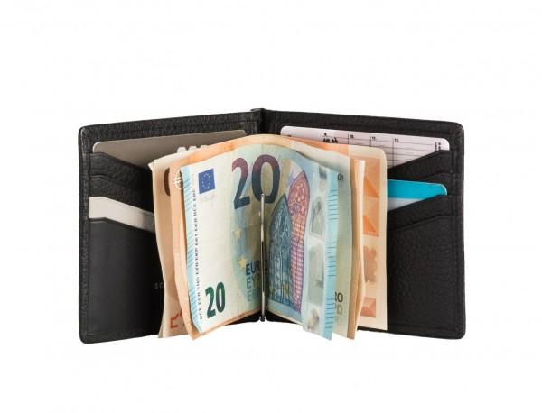 billetero de cuero caballero negro clip para billetes