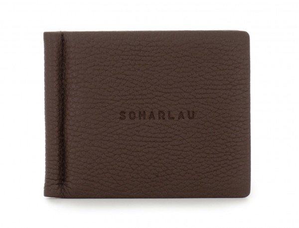 leather wallet with Money clip brown front
