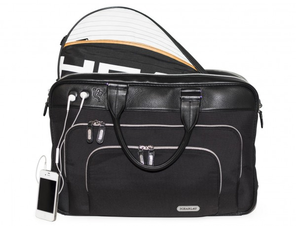 nylon and leather travel bag cabin size front with racket