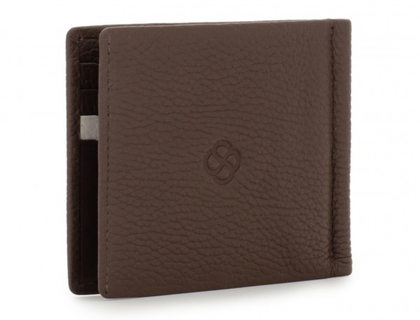 leather wallet with Money clip brown side