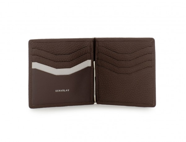 leather wallet with Money clip brown