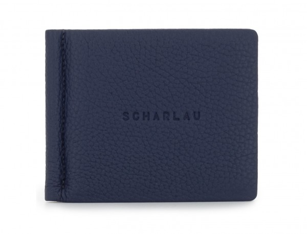 leather wallet with Money clip blue front